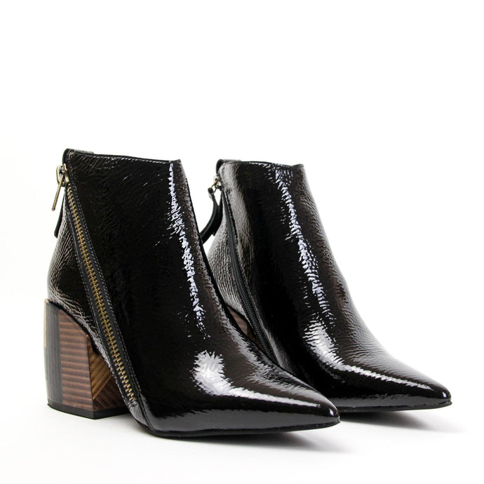 JEFFREY CAMPBELL Volusia Pointed Toe Ankle Bootie Black Patent Leather.