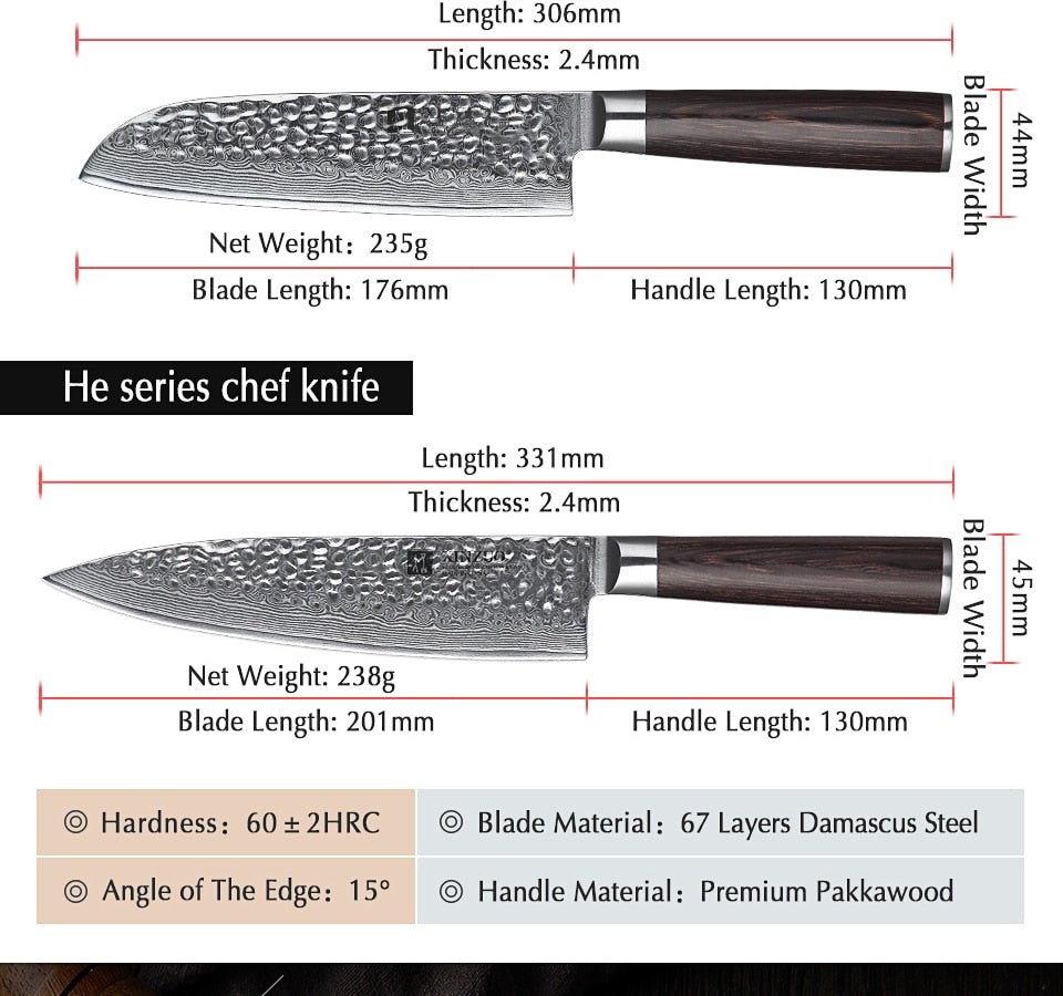 Premium 67 Layers Damascus Knife - Pakka Wood Handle