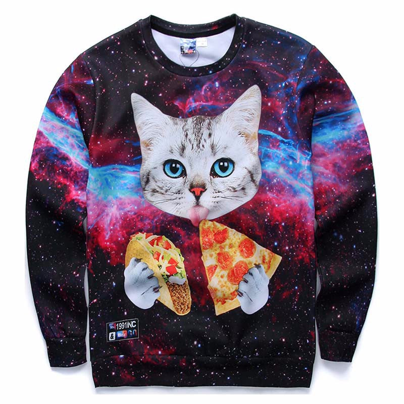 Unisex 3D Cat, Pizza & Taco Sweatshirts