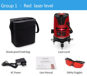 GOX Red Green laser level 360 Degree Cross Line Rotary Level Measuring Instruments 5 lines 6 points