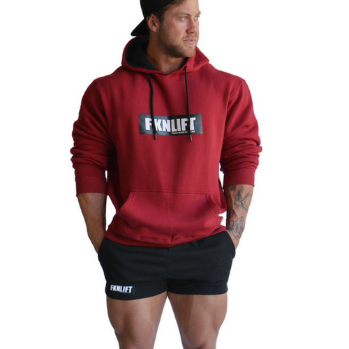 FKN Gym Wear Men's FKNLIFT Hoodie - Maroon/Khaki