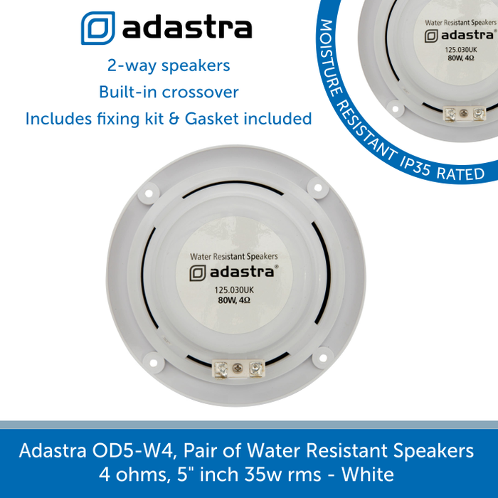 showing the back of a Adastra OD5-W4, Pair of Water Resistant Speakers
