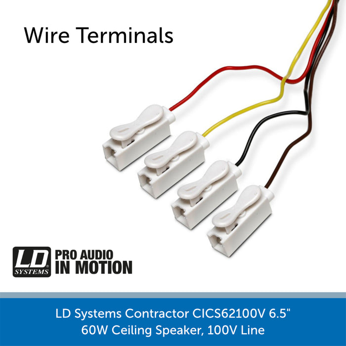 "LD Systems Contractor CICS62100V 6.5"" 60W Ceiling Speaker wire terminals"