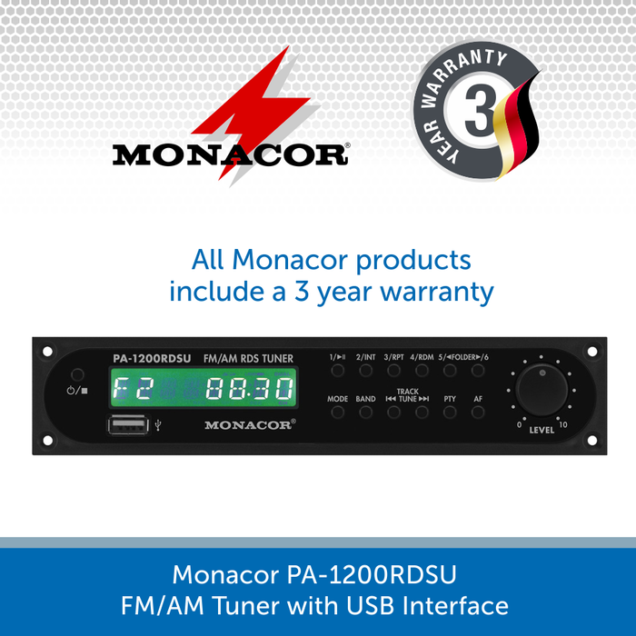 Monacor PA-1200RDSU FM/AM Tuner with USB Interface