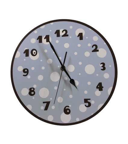 Blue and Brown Polka Dot Clock