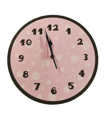 pink and brown polka dot Clock