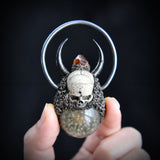 Hand Sculpted Realistic Skull with Dandelion Resin