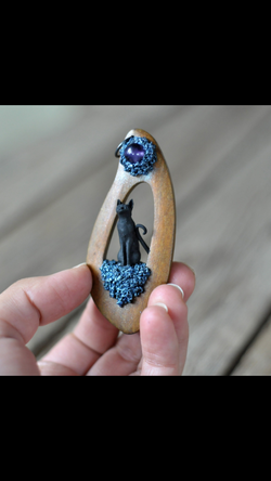 Wooden Pendant, Black Cat Pendant, Amethyst Round, Polymer Clay Jewelry
