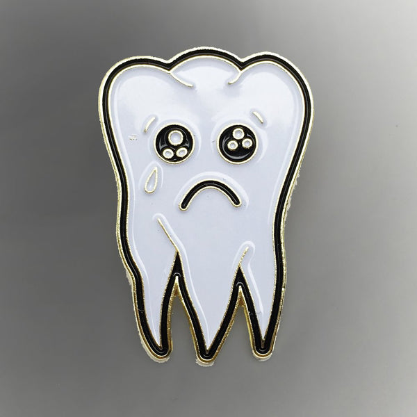 Sad Tooth Enamel Pin