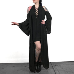 Cold Shoulder Flowing Duster