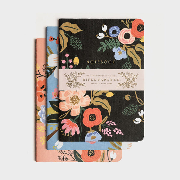 Rifle Paper Co - Pack of 3 Stitched Notebooks - Ruled - Large - Lively Floral