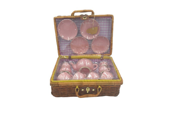Tea Set - Pink Porcelain - Cane Basket