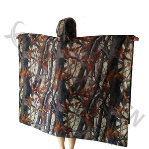 3 in 1 Multi-function WATERPROOF RIPSTOP HOODED PONCHO RAIN COAT TENT ARMY CAMO