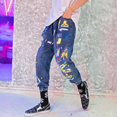 """Graffiti"" Denim Pants - DISXENT"
