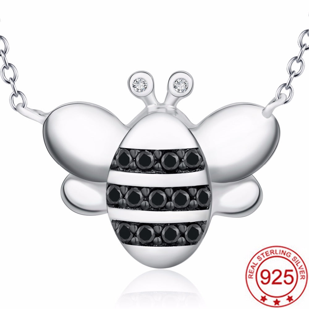 Sterling Silver Flying Honeybee Necklace