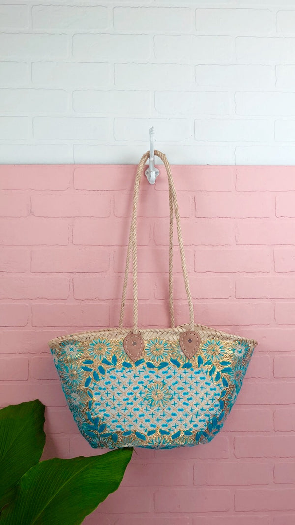 Tara Blue Embroidered Straw Tote
