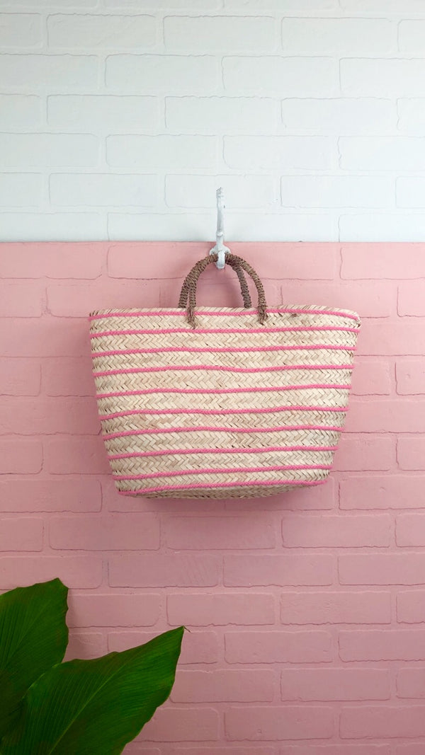 Rae Light Pink Striped Straw Tote