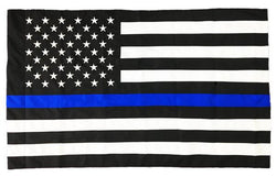 Thin Blue Line American Flag - Sewn & Embroidered - Pole Sleeve, Durasleek™, 3 x 5 Feet