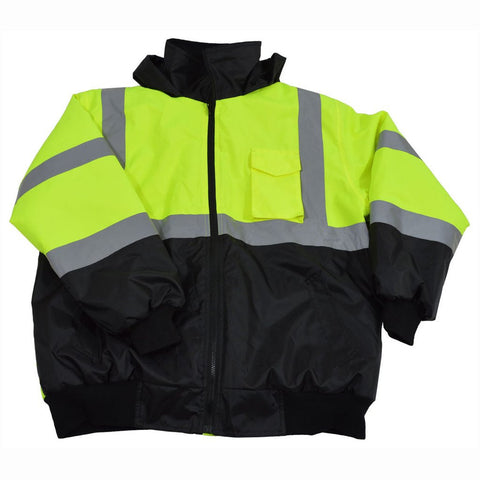 Petra Roc LQBBJ-C3 ANSI/ISEA Class 3 Lime/Black Waterproof Bomber Jacket with Sewn In Quilted Liner