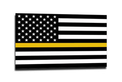 Thin Gold Line American Flag Sticker , 4 x 6.5 Inches