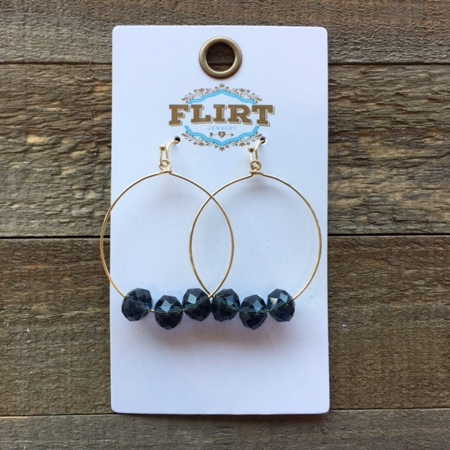 Navy Blue 3 Bead Hoop Earring