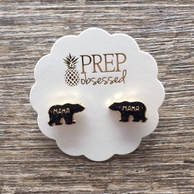 Mama Bear Enamel Stud Earrings