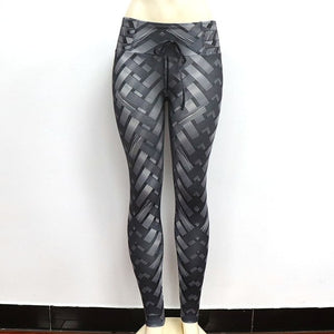 New Leggings Weaving Printed Tie Women Fitness Workout Scrunch Booty Leggings