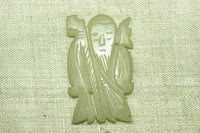 Antique Chinese Carved Jade pendant of Jurojin