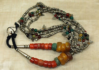 Antique Berber Necklace with Silver, Amazonite, Coral and Amber Beads