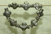 Strand of Antique silver floral beads from India