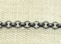 Tiny Rolo Chain Oxidized Silver