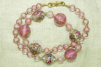 Vintage Pink Italian Wedding Cake Beads, Necklace