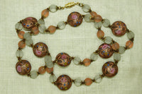 Vintage Matte Finish Venetian Wedding Cake Bead Necklace