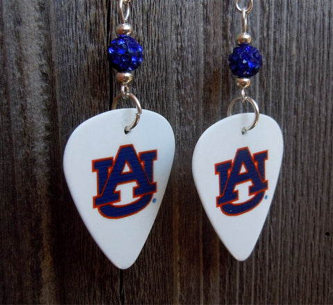 Auburn University Guitar Pick Earrings with Blue Pave Beads