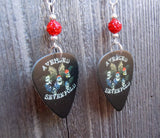 Avenged Sevenfold Guitar Pick Earrings with Red Pave Beads