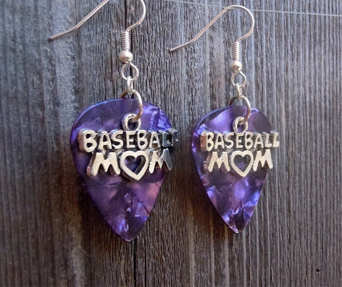Baseball Mom Charms Guitar Pick Earrings - Pick Your Color