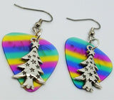 Tall Starry Christmas Tree Charm Guitar Pick Earrings - Pick Your Color