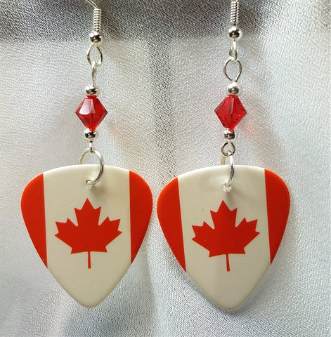 Canadian Flag Guitar Pick Earrings with Red Swarovski Crystals