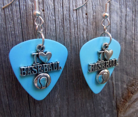 I Heart Baseball Charm Guitar Pick Earrings - Pick Your Color