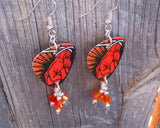 Metallica St Anger Album Guitar Pick Earrings with Orange Swarovski Crystal Dangles
