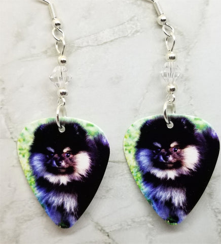 Pomeranian Guitar Pick Earrings with Clear Swarovski Crystals