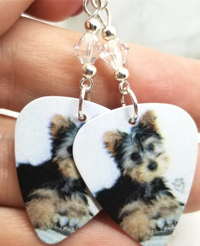 Yorkie Yorkshire Terrier Puppy Guitar Pick Earrings with Clear Swarovski Crystals
