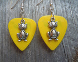 Cat Charm Guitar Pick Earrings - Pick Your Color