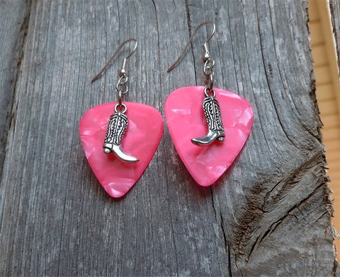 Cowboy Boot Charm Guitar Pick Earrings - Pick Your Color