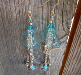 Aqua Blue Calla Lily with Dangles Drop Earrings