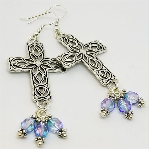 Large Silver Cross Earrings with TriColor Czeh Glass Bead Dangles