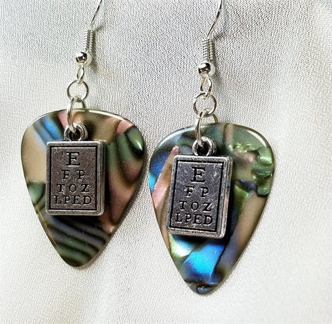 Eye Chart Charm Guitar Pick Earrings - Pick Your Color