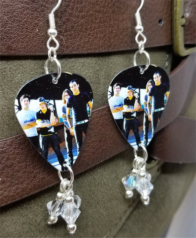 Fall Out Boy Group Picture Guitar Pick Earrings with Clear Swarovski Crystal Dangles