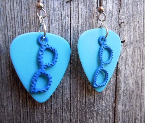 Blue Glasses Charms Guitar Pick Earrings - Pick Your Color