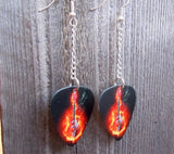 Dangling Electric Guitar on Fire Guitar Pick Earrings